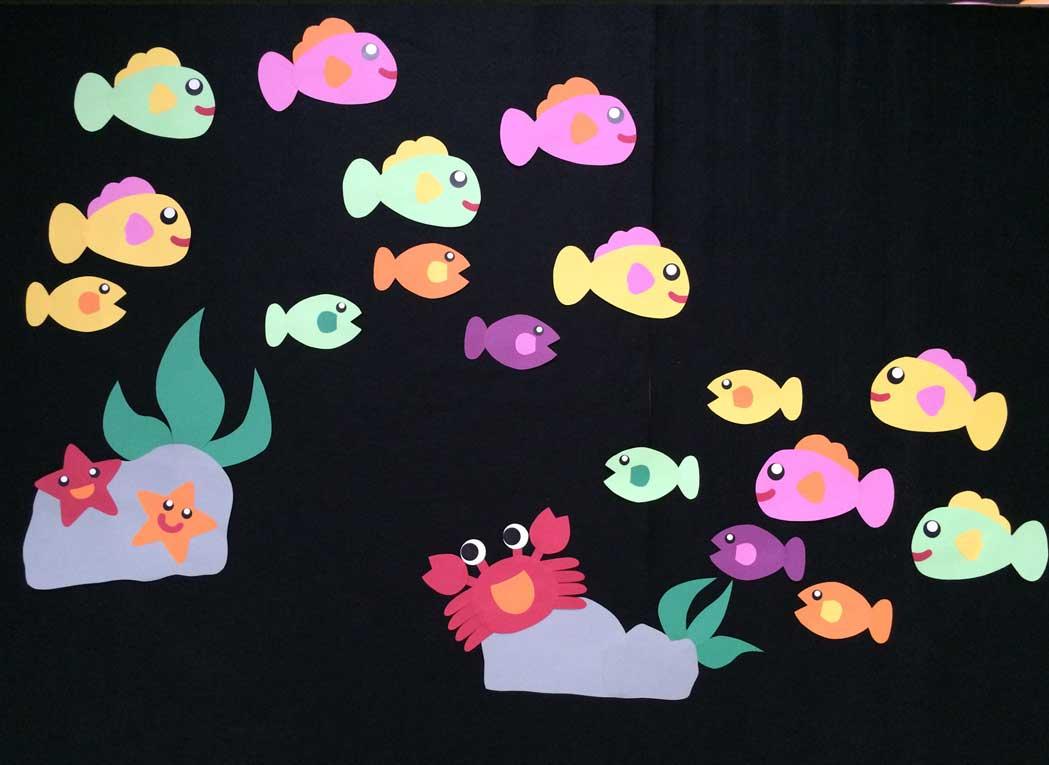 海の中の壁面装飾